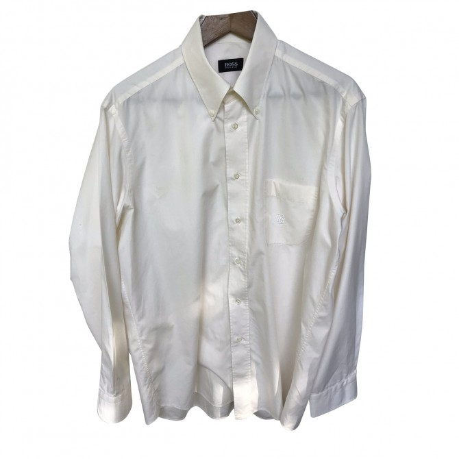 Boss Ecru Cotton Shirt Size 42/ 16,5