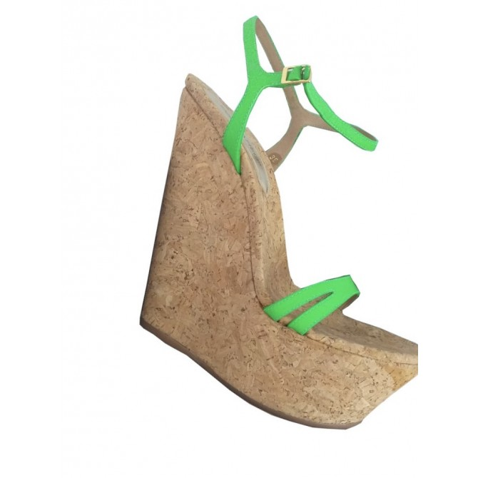 DSQUARED2 high platforms with green patent leather straps