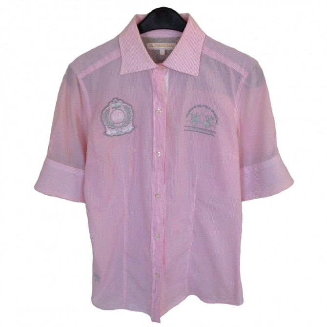LA MARTINA Pink Shirt short sleeved
