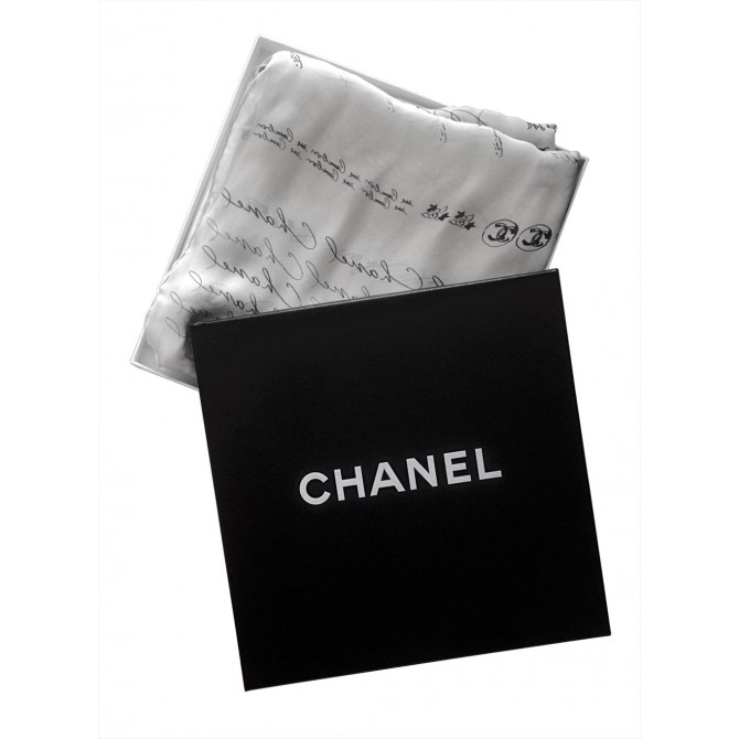 CHANEL silk ecru scarf