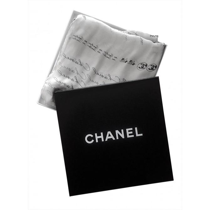 CHANEL silk ecru scarf