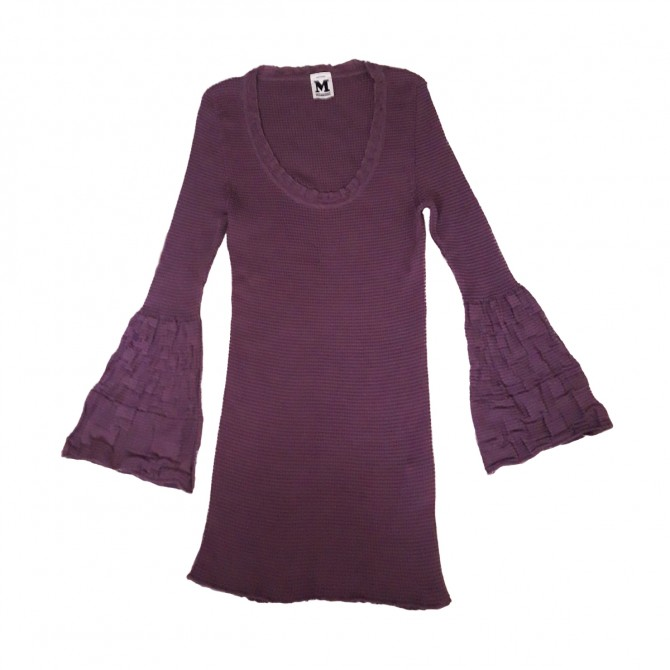 MISSONI knitwear top with belled sleeves in purple color