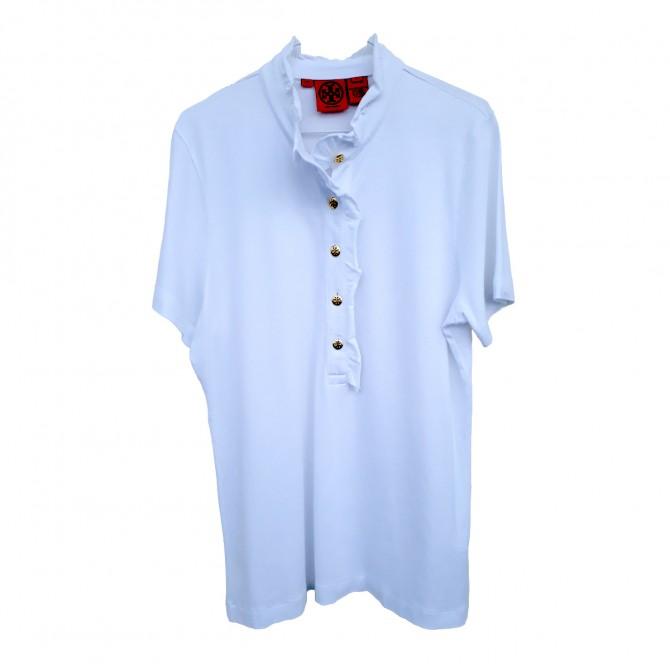 TORY BURCH cotton pique raffled neck white top