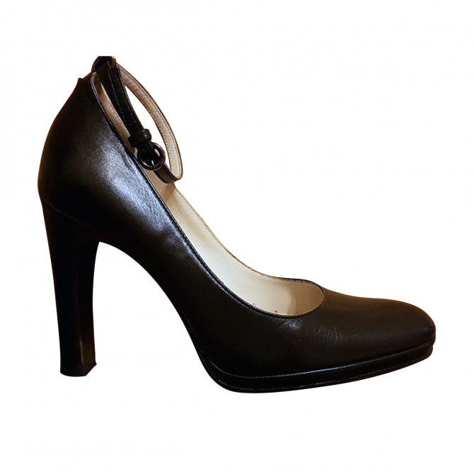 Miu Miu Black Leather Heels with