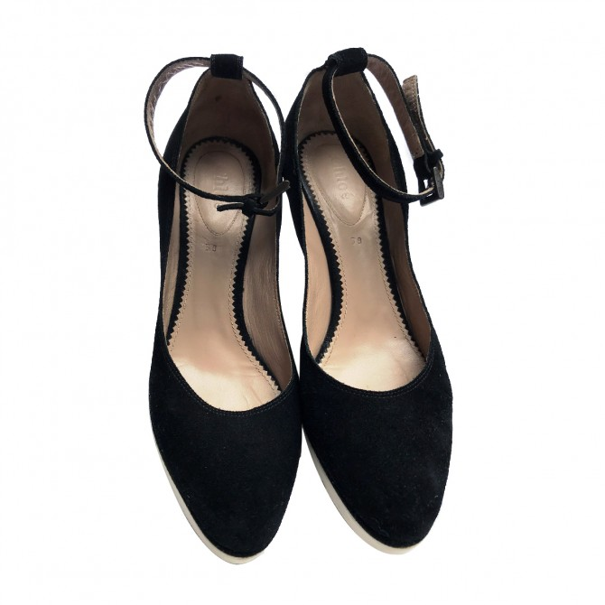 Chloe Black Suede wedges
