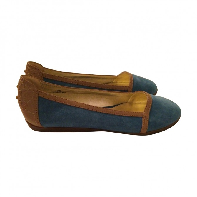 Tod's flats in denim canvas and brown suede
