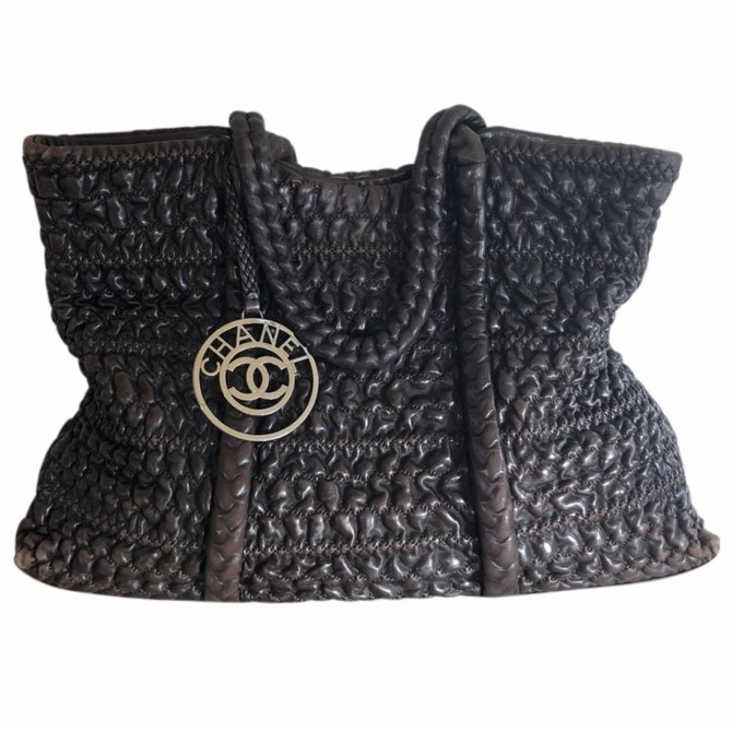 Chanel limited edition braided brown leather shoulder bag