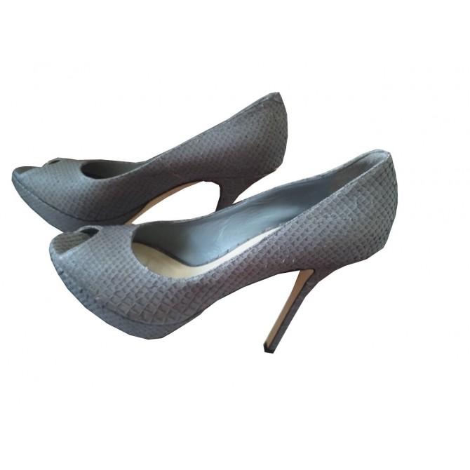 Dior grey taupe snake skin heels
