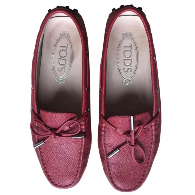 Tod's mocassin flats in red leather