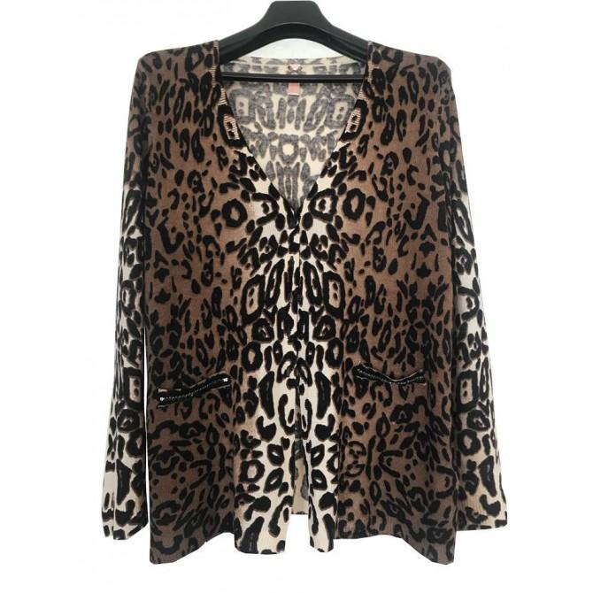 LAUREL leopard print cashmere knitwear size XXL