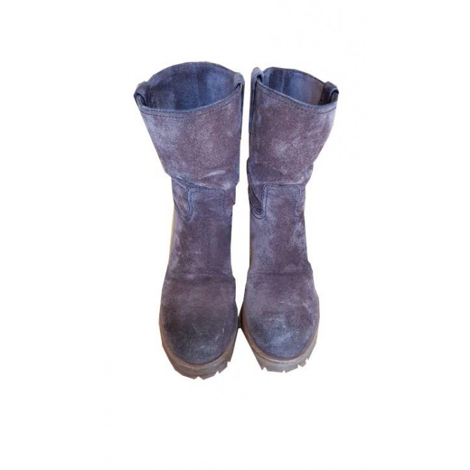 PRADA BOOTS IN AGED IMPRESSION SUEDE