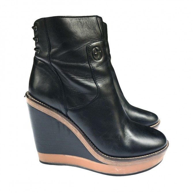 Armani Jeans black leather Booties