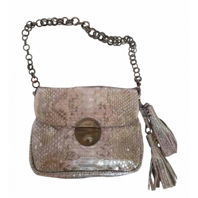 Prada snake skin taupe metallic bag with chain