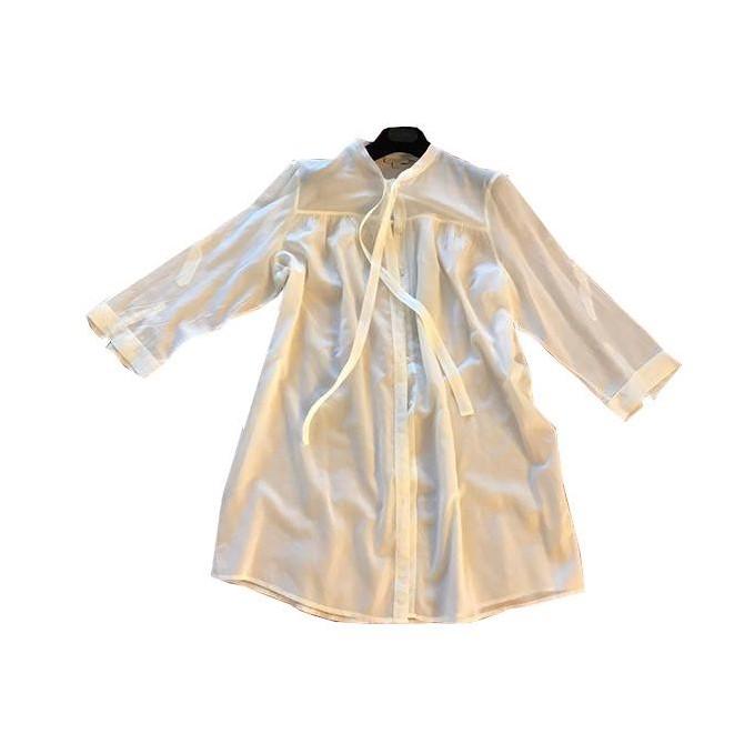 Burberry white demi sheer tunic size L