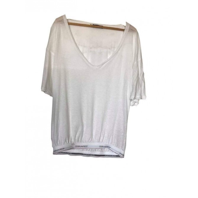 Dsquared2 white top with elasticated band with logo