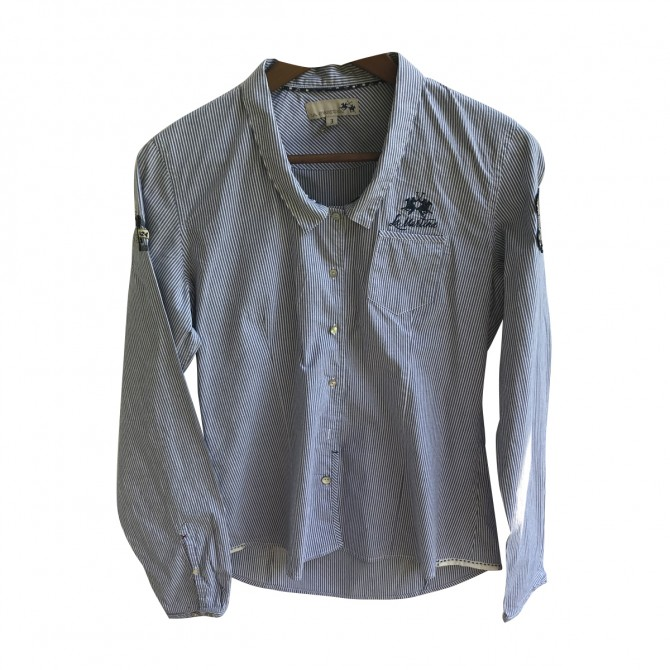 La Martina blue white stripped shirt