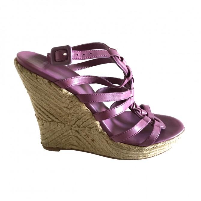 Diane von Furstenberg Fuchsia Leather Lace Wedge  Sandals