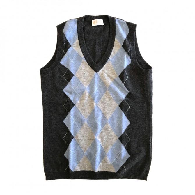 Pringles check knit vest