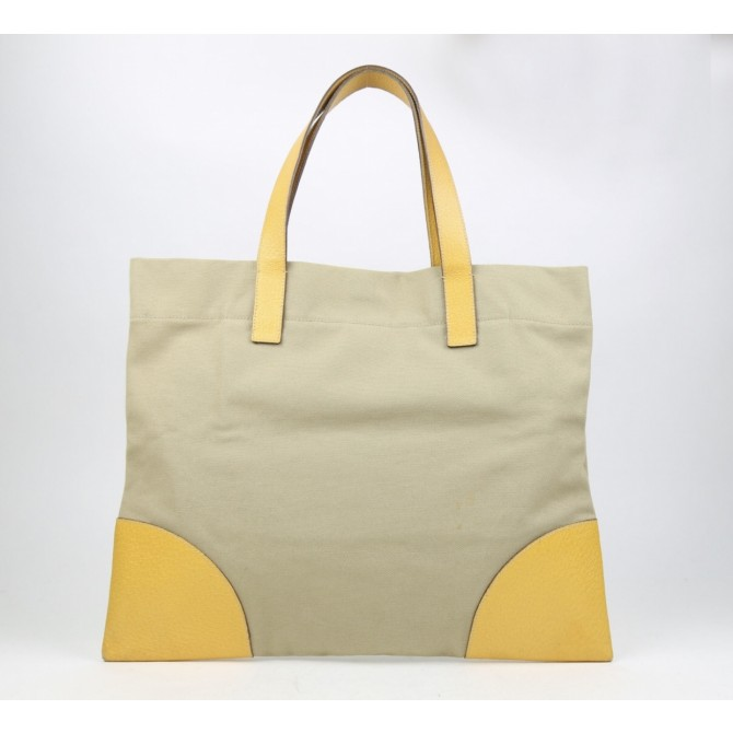 Prada  leather and canvas tote bag