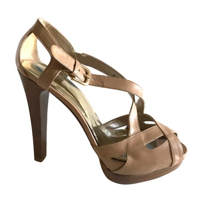 Stuart Weitzman Nude Leather Heel Sandals
