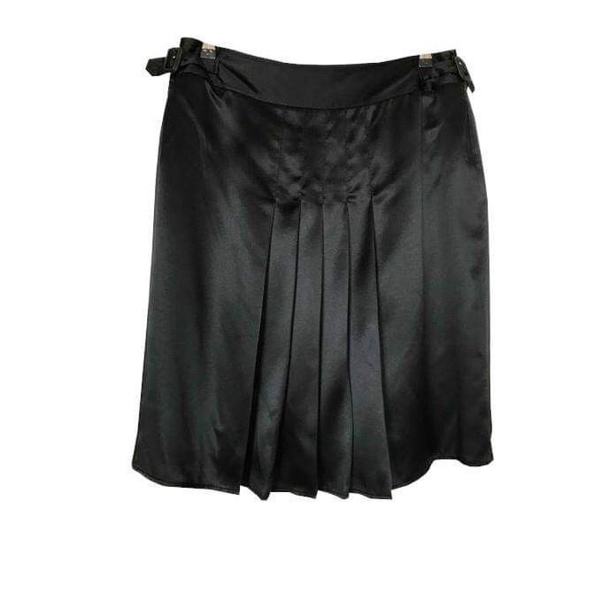 Burberry black silk pleated skirt UK 12 or US 10