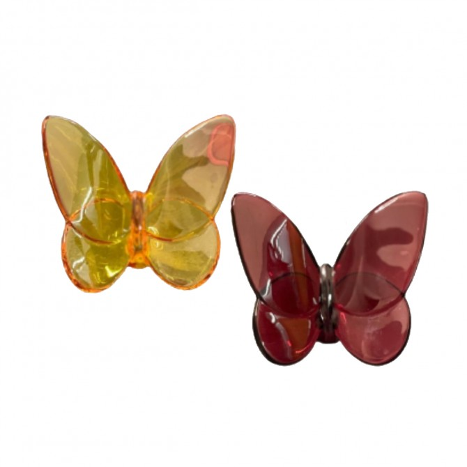 Red and Topaz Red crystal Baccarat Papillon Lucky Butterfly set of two