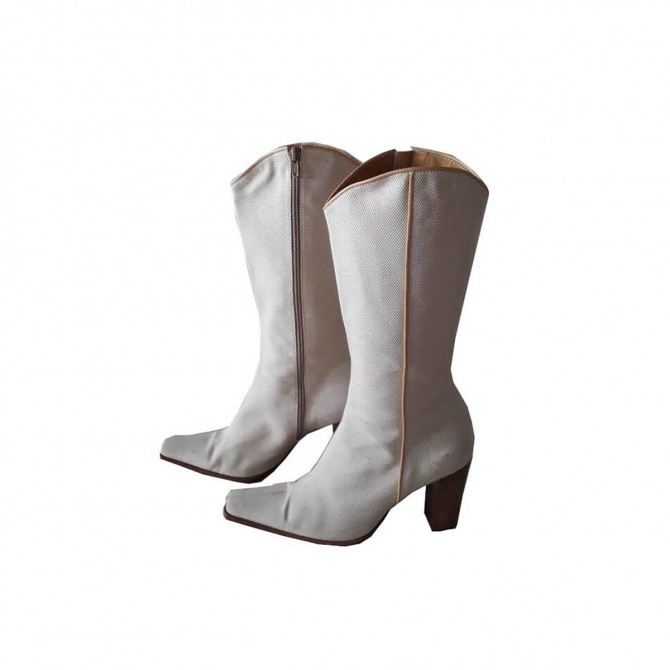 SEBASTIAN MILANO WESTERN BOOTS IN WHITE FABRIC AND LEATHER SIZE EU38