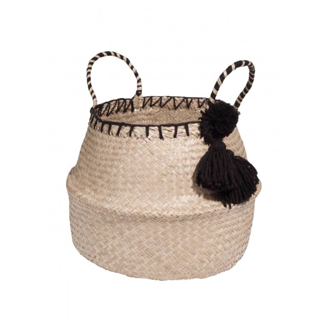 Hand made basket bag with tassel in black
