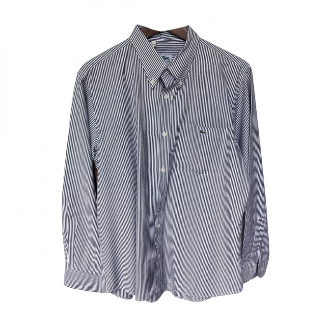 Lacoste Grey White stripped Shirt SIZE L excellent condition