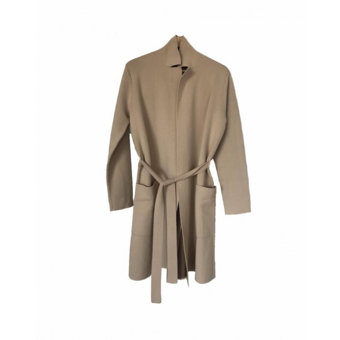 Max Mara Studio cashmere and wool belted knitwear jacket  in camel color with brown color inside size IT 42