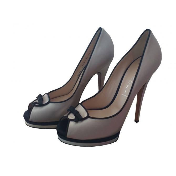 Casadei platform heels in white leather with black details  US 8.5