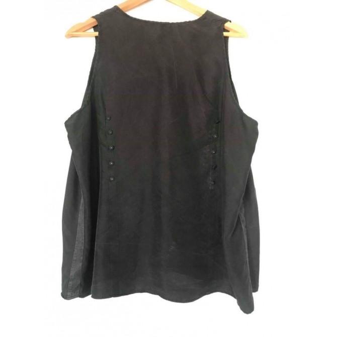 PRADA black silk top with denim and trucks details