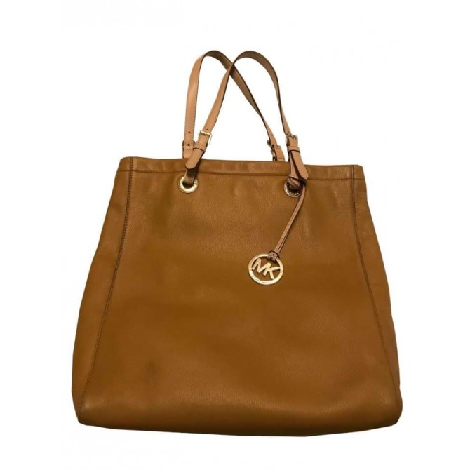 MICHAEL MICHAEL KORS CAMEL LEATHER TOTE BAG