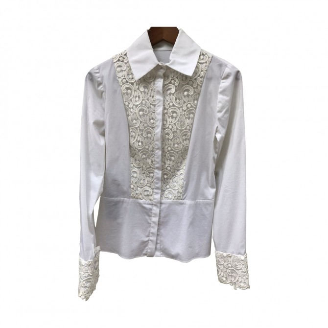 Kathy Heyndels Cotton White  Embroidery  Lace Shirt