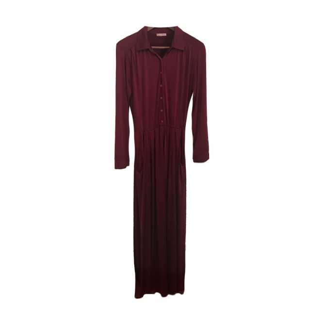 Eclecticsoiree Burgundy Shirtdress