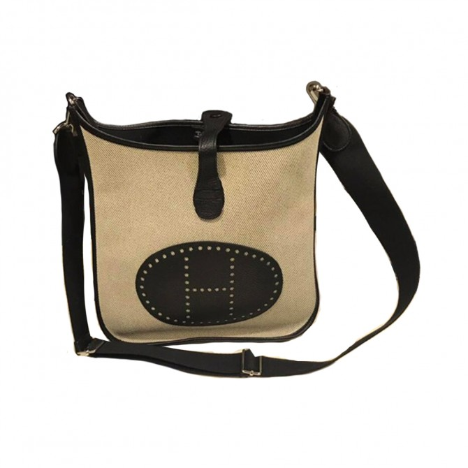 """HERMES """"EVELYN"""" NEW IN BEIGE CANVAS AND BLACK LEATHER"""