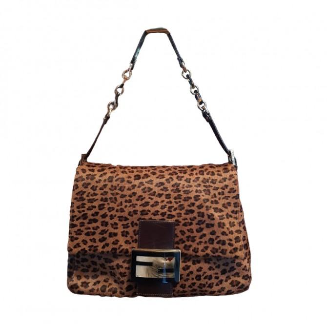 FENDI leopard print pony skin large leather Mama baguette bag