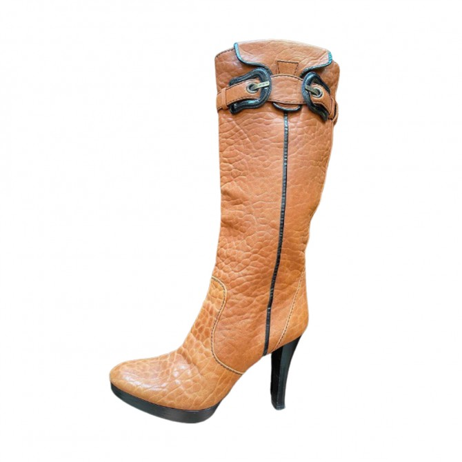 Fendi camel leather boots size IT 38.5