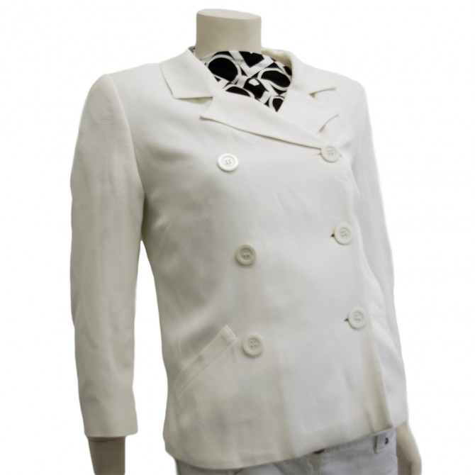 SPORTMAX  PIQUE WHITE DOUBLE BREASTED  BLAZER IT42