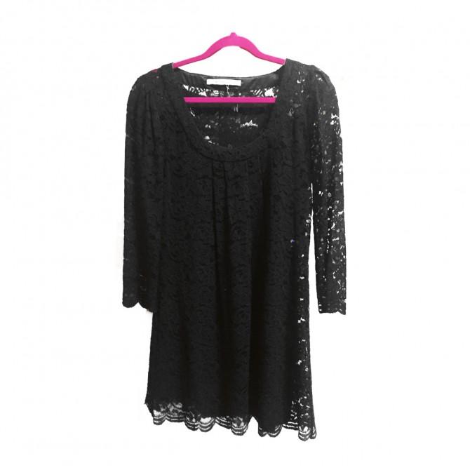 Diane Von Fyrstenberg black lace dress