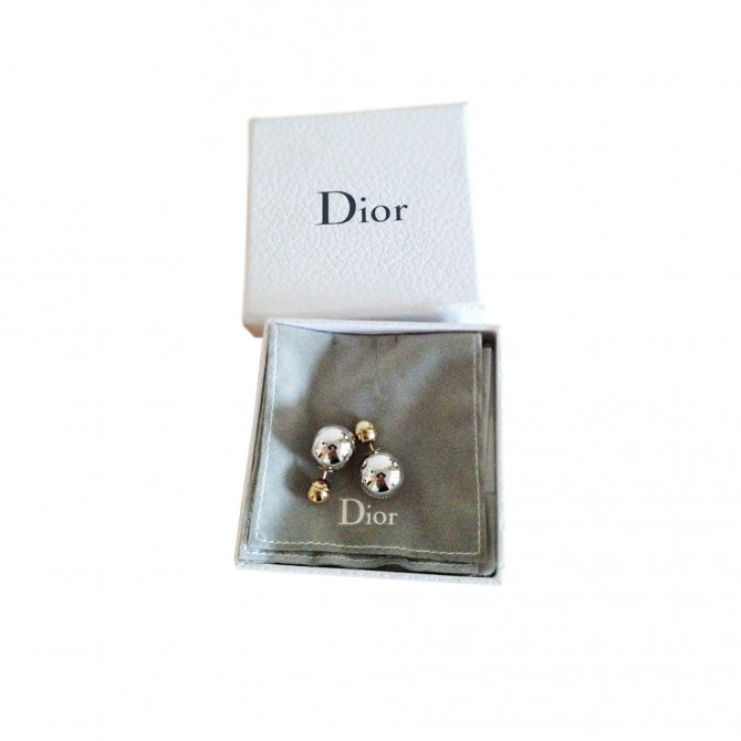 DIOR tribals earrings in gold tone and silver tone balls
