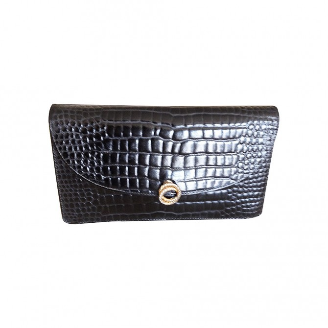 VINTAGE crocodile leather black clutch bag