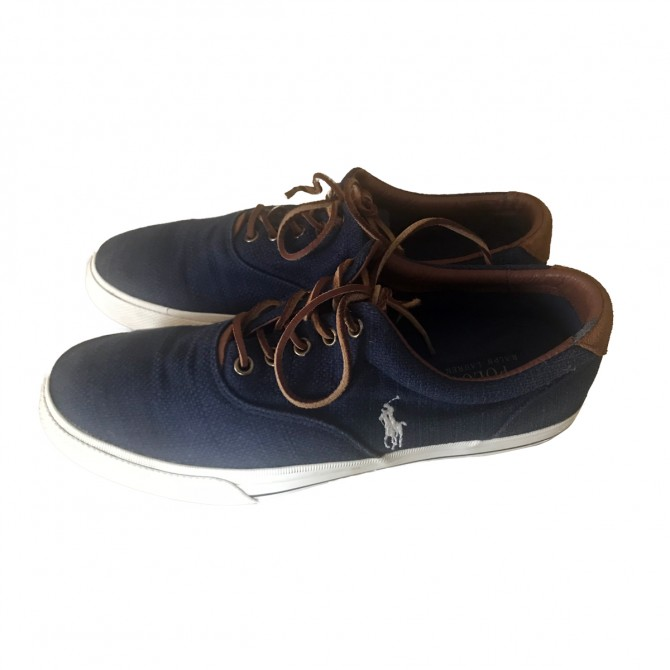 POLO RALPH LAUREN canvas and leather trainers