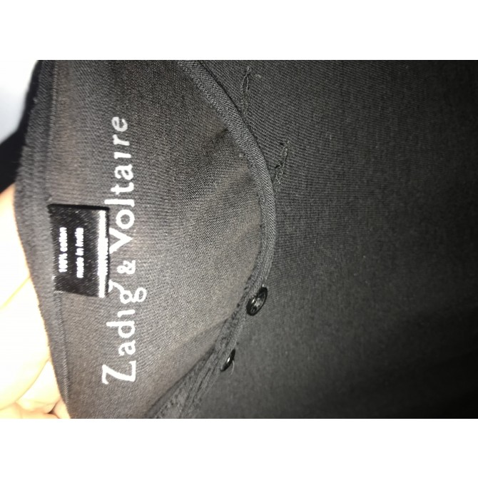 ZADIG & VOLTAIRE BLACK T-SHIRT WITH STAMP ON THE BACK