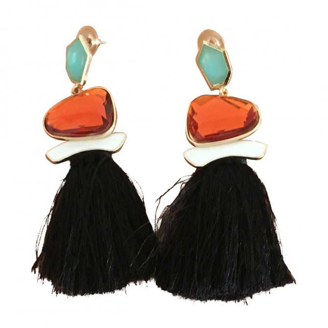Handmade tassel drop earrings with multicolor stones