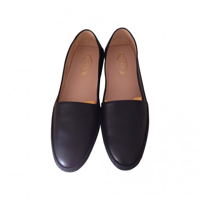 TOD'S black leather espadrilles