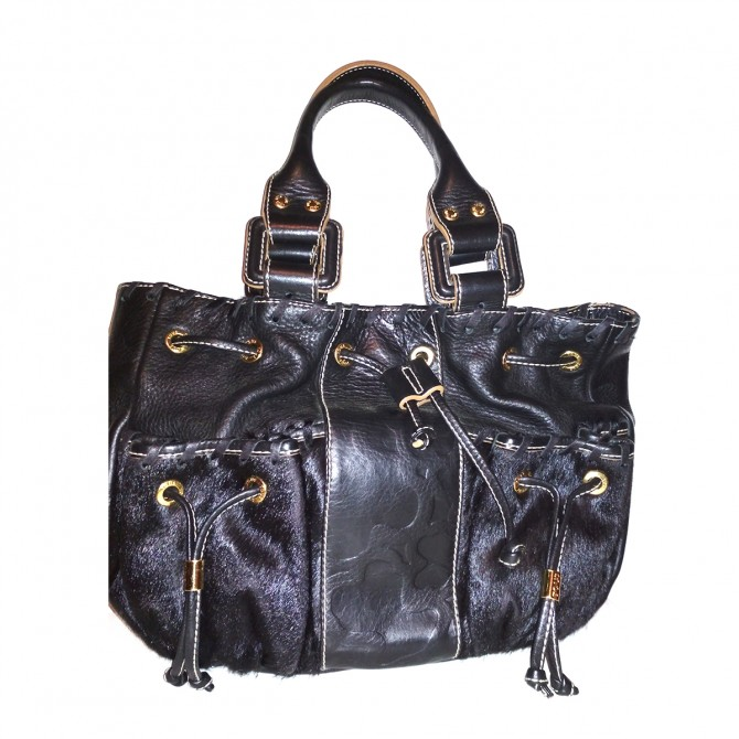 TOUS Black Leather and Pony skin bag