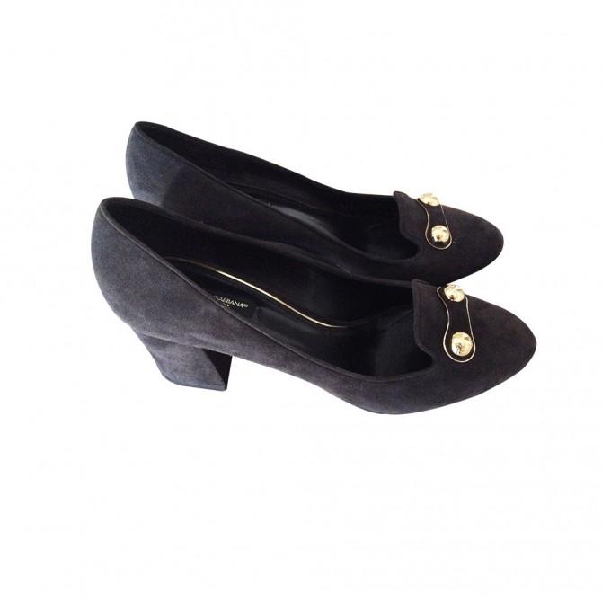 DOLCE &  GABBANA black suede heels