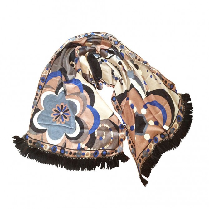 EMILIO PUCCI CASHMERE AND SILK FRINGED SCARF