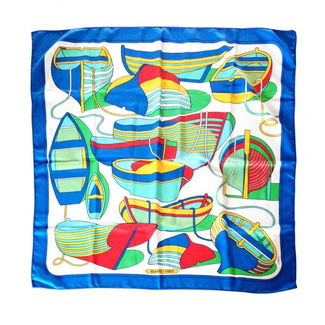 "HERMES silk scarf ""boat"""